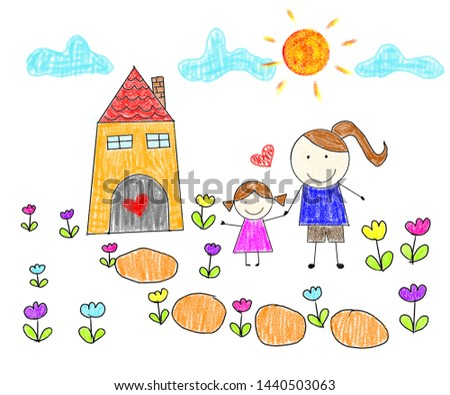 childlike drawing mother and daughter on sunny day
