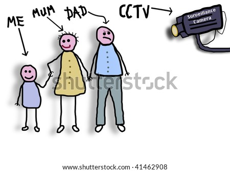 Childlike illustration of a family being watched by a CCTV camera referring to the intrusion into everyday life by the surveillance culture. Please note UK spelling of the word mum.