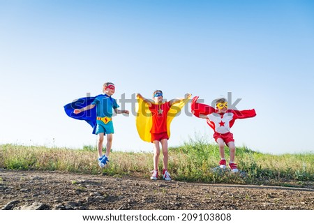 children acting like a superhero