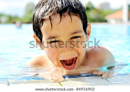 Children activities in swimming pool