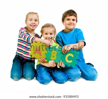 children are playing letters on the white background