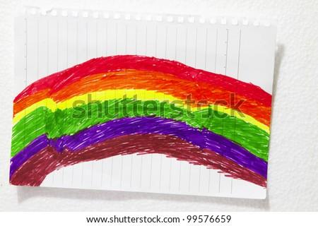 Children art coloring activity with a rainbow concept vivid colors.