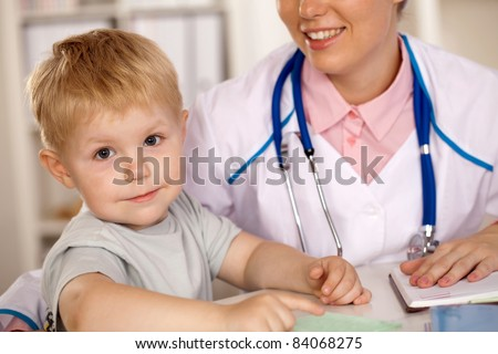 children at a reception at the doctor
