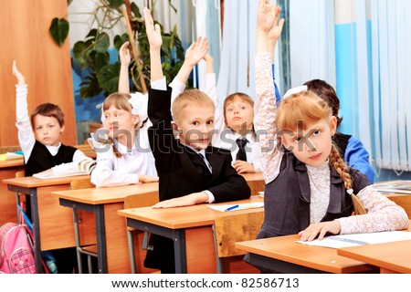 Children at school during the lesson.