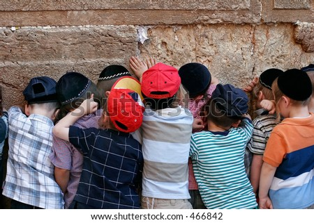 children at the wailing wall.