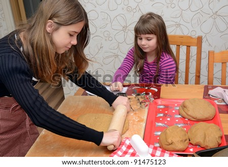 Children baking cake