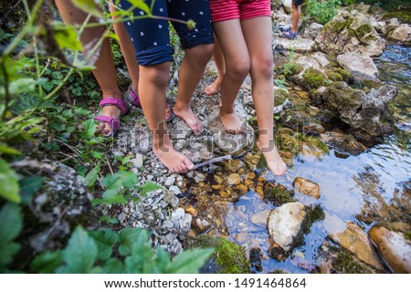 Children barefoot feet walking through clear water in forest creek . Adventure on summer day in nature. Unrecognizable people . #1491464864
