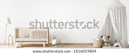 Children bedroom design mock up with unisex natural wooden furniture, panorama, 3d render, 3d illustration