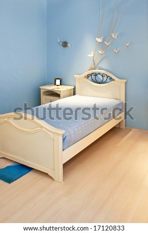 Children bedroom in blue style with laminate
