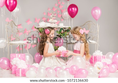 Children Birthday Party, Girl Giving Present Gift Box, Pink Balloons Decoration, Happy Kids Celebrating Holiday