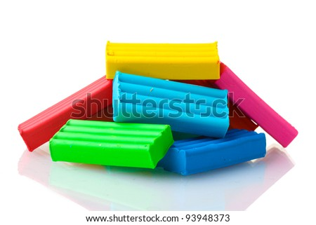 Children bright\ plasticine isolated on white - stock photo