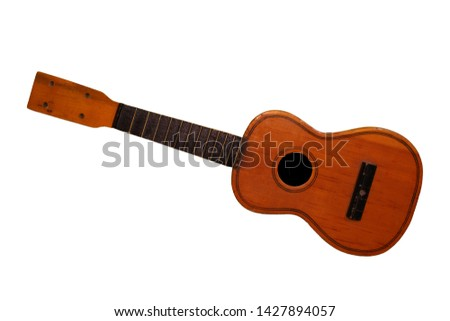 Children brown guitar without strings isolated on white background