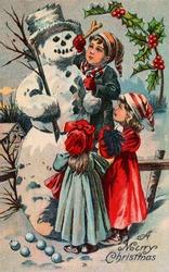 Children building a snowman - circa 1910 vintage greeting card illustration - 'A merry Christmas'