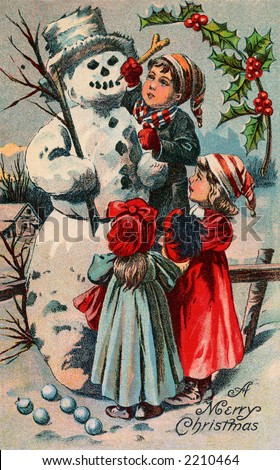 vintage christmas children images. stock photo : Children building a snowman - circa 1910 vintage greeting card