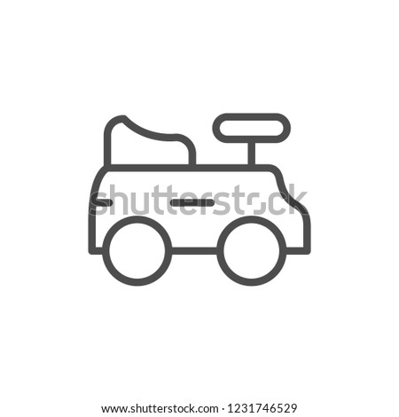 Children car line icon isolated on white