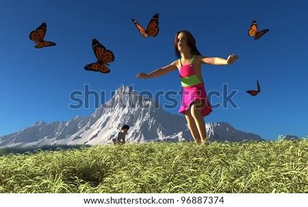 Children catch butterflies in the grass.