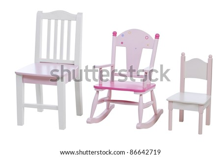Children chairs isolated over white, with clipping path