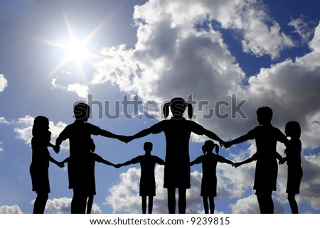 children circle on real sunny sky