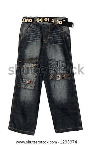 Children clothing boy black jeans isolated on white background