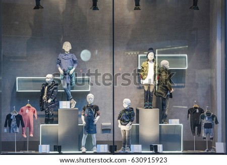 Children clothing shop showcase in London.