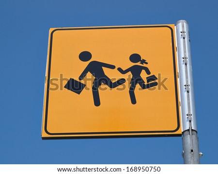 Children crossing street road sign back to school image