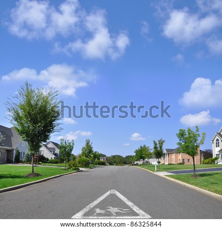 Children Crossing Triangle Traffic Caution Symbol on Suburban Residential Neighborhood Street on Beautiful Sunny Blue Sky Day