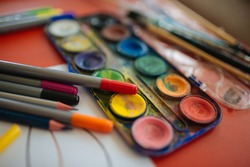 children drawing with color pencil many colors  colorful.