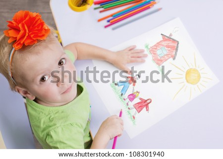 Children drawings. Cute child draw with colorful crayons