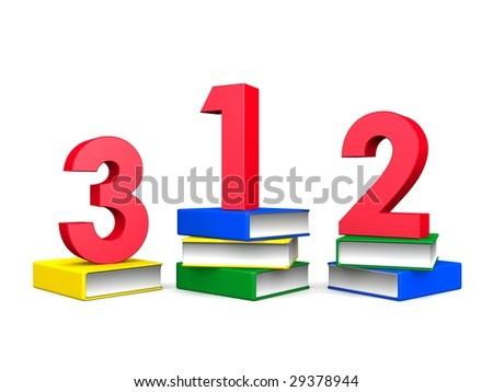 Children education concept one two tree on top of books 3d illustration