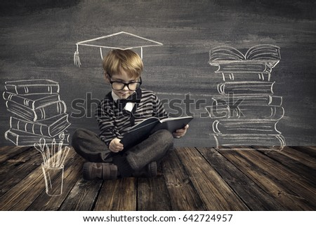 Children Education, Kid Read Book, School Boy Reading Dreaming About Books over Blackboard Background