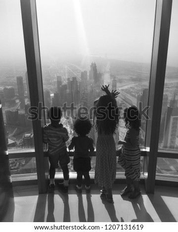 Children Enjoying a City View #1207131619