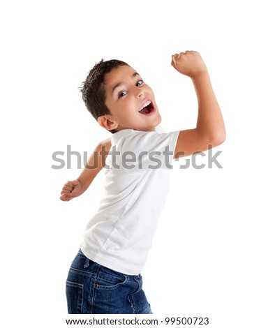 children excited kid expression with winner gesture screaming happy - stock photo