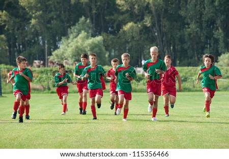 children exercise before the game - stock photo
