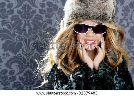 children fashion girl with fur winter coat