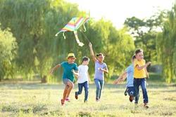 Children flying kite on summer day