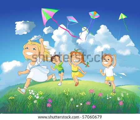 Children flying kites in the meadow on a blue sky background.