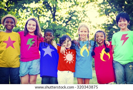 Children Friendship Bonding Happiness Outdoors Concept