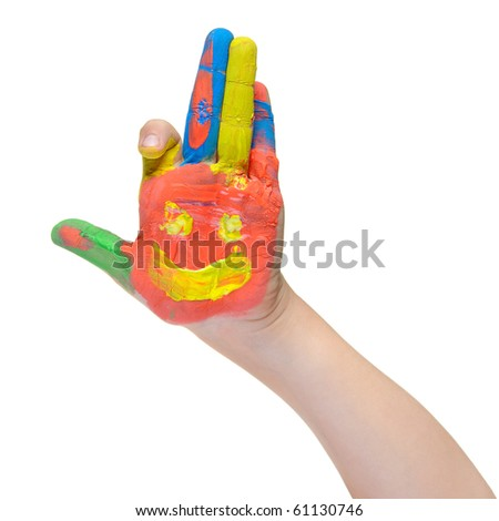 Children hand in paint. Isolated on white background