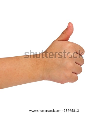 children hand making sign. Isolated on white background
