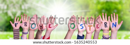 Children Hands Building Frohe Ostern Means Happy Easter, Grass Meadow Stock foto ©
