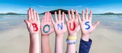 Children Hands Building Word Bonus, Ocean Background