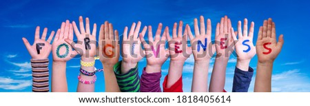 Children Hands Building Word Forgiveness, Blue Sky Stock photo ©