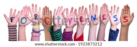 Children Hands Building Word Forgiveness, Isolated Background Stock photo ©
