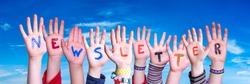 Children Hands Building Word Newsletter, Blue Sky