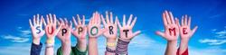 Children Hands Building Word Support Me, Blue Sky