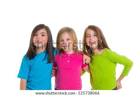 children happy girl friends group smiling hug together isolated on white background