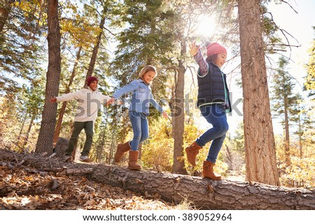 Children Having Fun And Balancing On Tree In Fall Woodland #389052964