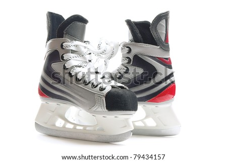 Children hockey skates isolated over pure white background