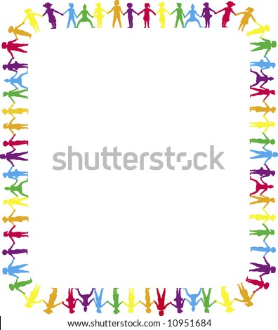 children holding hands template. stock photo : children holding