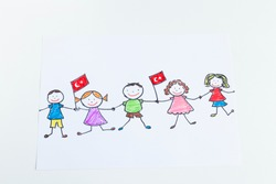 Children holding hands and Turkish flags were running with joy for April 23 festival from Turkey.